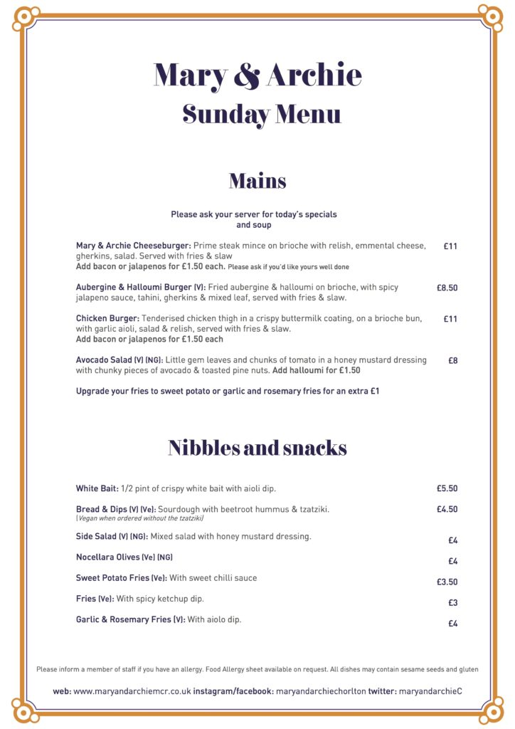 Sunday Menu Served all day Sunday along side our Roast dinners